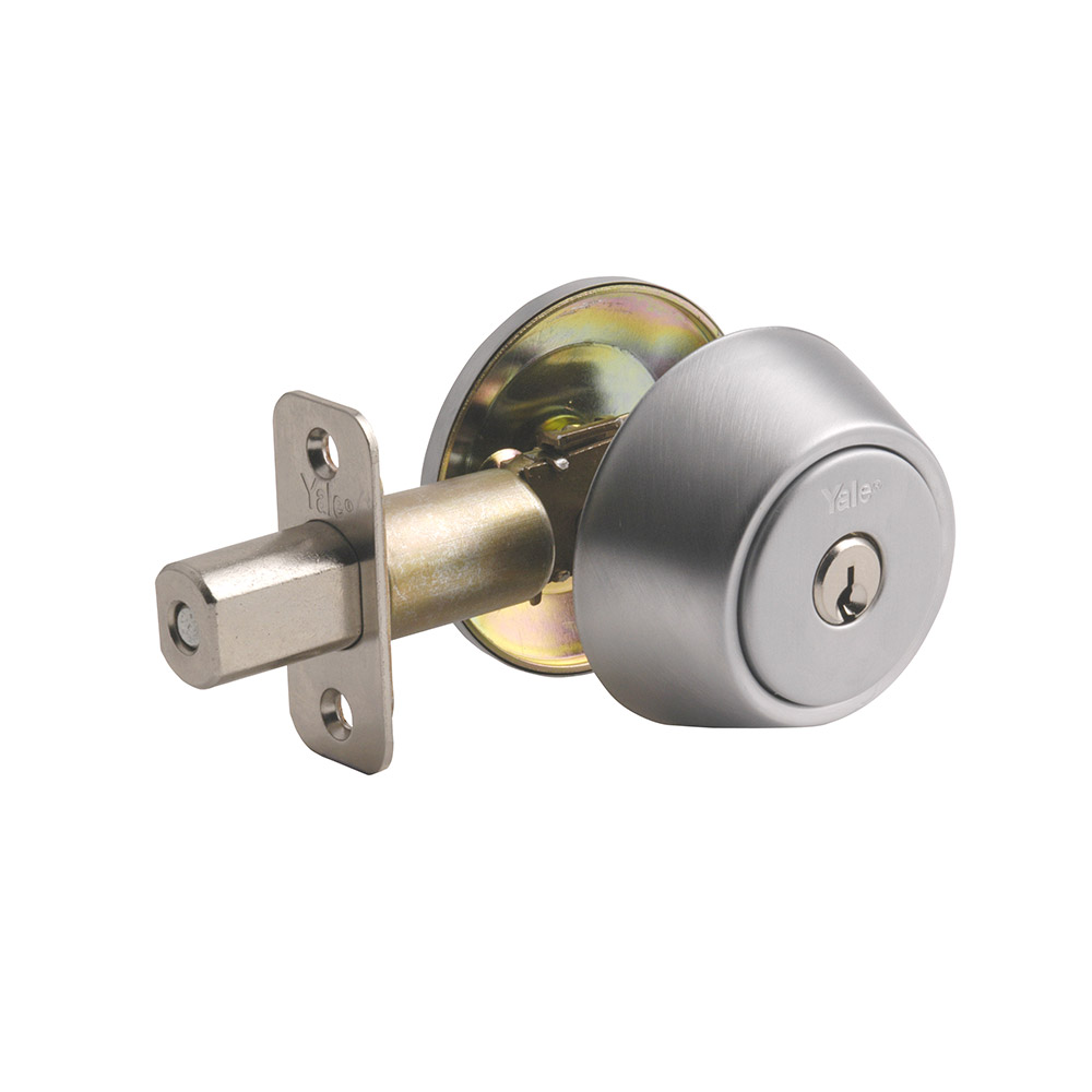 Yale Residential 82026D Satin Chrome NT Series Grade 2 Single Cylinder Deadbolt x Adjustable Radious