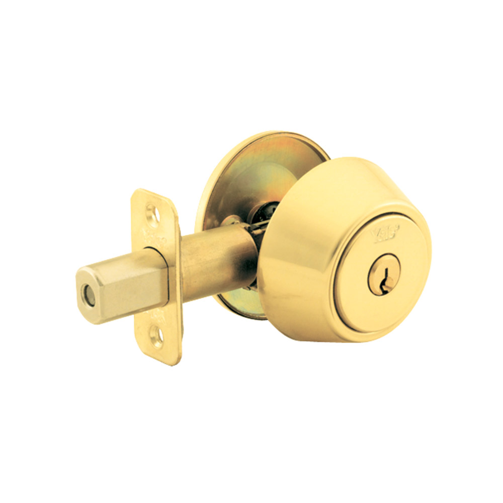 Yale Residential 8203 Polished Brass NT Series Grade 2 Single Cylinder Deadbolt x Adjustable Radious