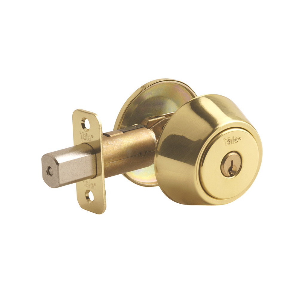 Yale Residential 833 Polished Brass YH Series Grade 2 Single Cylinder Deadbolt x Adjustable Radious