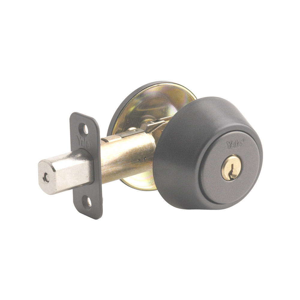 Yale Residential 83GM Gun Metal YH Series Grade 2 Single Cylinder Deadbolt x Adjustable Radious Back